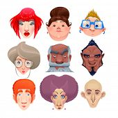 Kind of people. Vector and cartoon isolated characters
