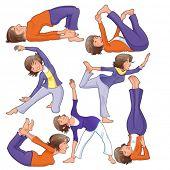Posturas de yoga. Divertidos dibujos animados y vector aislados ilustración.