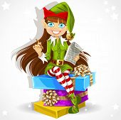 Cute girl the New Year's elf Santa's assistant ready to record wishes