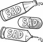 Sad alcohol and drugs sketch