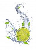 Lime in water splash, isolated on white background