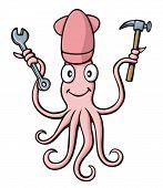 Squid Handyman Cartoon