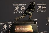 NEW YORK-DEC 8: General view of the 2012 Heisman trophy at the Marriott Marquis on December 8, 2012