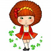 Irish dancing girl in red traditional dress