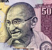 stock photo of gandhi  - Gandhi on 50 rupees banknote from India - JPG