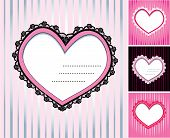 Set Of 4 Hearts Shape Lace Doily On Stripe Background