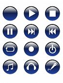 Blue Audio Buttons