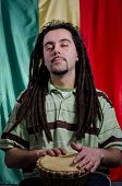 picture of rastaman  - Portrait of a relaxed young rastafarian man - JPG