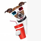 foto of jack-in-the-box  - 3d glasses dog with coke with side banner - JPG