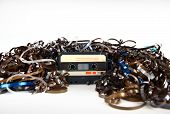 image of magnetic tape  - Audio cassette and tape composition - JPG