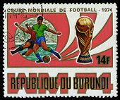 Republic Of Burundi, - Circa 1974: A Stamp Printed By Burundi Showing Football Players, Circa 1974