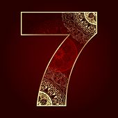 Vintage Number 7 With Floral Swirls
