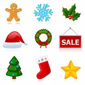Christmas (New Year) holiday icons set.