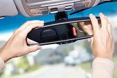 Car mirror. Auto dealership concept.