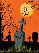 Graveyard on an orange background