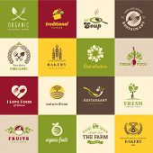 stock photo of vegetable food fruit  - Set of icons for food and drink - JPG