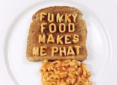 foto of eat me  - toast and pasta spagheti letters spelling  - JPG