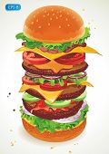 Vector BIG hamburger with cheese, lettuce, onion and meat