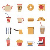 image of bagel  - set of flat cafe design elements - JPG