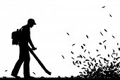 Editable vector silhouette of a man using a leaf-blower to clear leaves with all elements as separat