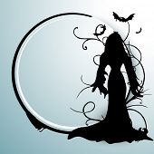 Happy Halloween poster, banner or flyer with silhouette of a witch and space for your text.