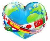 Heart Globe With Flags
