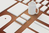 stock photo of letterhead  - Blank Stationery and Corporate ID Template on wooden background - JPG