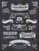 picture of ribbon decoration  - Hand drawn blackboard banner vector illustration with texture added - JPG