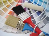 stock photo of paint brush  - brush and paint samples - JPG