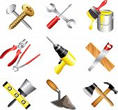 stock photo of putty  - construction tools icons high detailed vector set - JPG