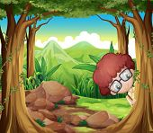 Illustration of a boy hiding at the forest