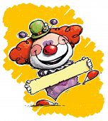 Clown Holding A Label