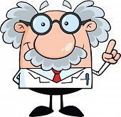 stock photo of physicist  - Smiling Scientist Or Professor With An Idea - JPG