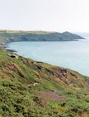 View to Rame Head and Polhawn Whitsand Bay beach Cornwall coast England UK