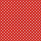 Retro seamless vector pattern or texture with white polka dots on red background.