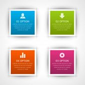 Infographics options design elements. Vector illustration. Square banner numbers and icons website e