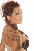 Woman Tattoos Dress Profile Back Side