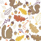 seamless autumn pattern with squirrels