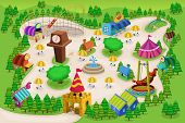 stock photo of amusement  - A vector illustration of amusement park map - JPG