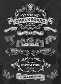 Collection of banners and ribbons in a vintage retro design style. Black chalkboard background. Label and artwork decoration. Set of calligraphic elements, frames, vintage labels. Vector illustration
