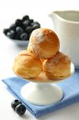 Homemade Profiteroles With Cream, Selective Focus