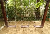 pic of swingset  - the wooden swing set on the playground - JPG