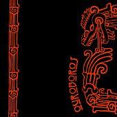 Maya snake Quetzalcoatl ouroboros half