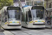 Melbourne, Australia Mar 18Th: Trams On Bourke Street On March 18Th 2013. The Tram Network Is The La