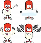 Pill Capsule Cartoon Characters  Set Collection 1