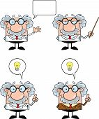 stock photo of physicist  - Funny Scientist Or Professor Cartoon Characters  Set Collection 3 - JPG