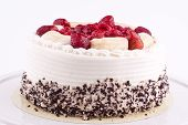 cake with raspberry,banana, strawberry