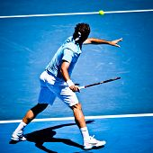 MELBOURNE, AUSTRALIA - JANUARY 25: Roger Federer inhis win over Lleyton Hewitt during the 2010 Austr
