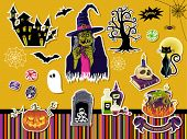 Halloween Symbols and Icons - Set of paper cutout stickers with Halloween symbols, including witch,