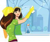 Mädchen waschen Fenster